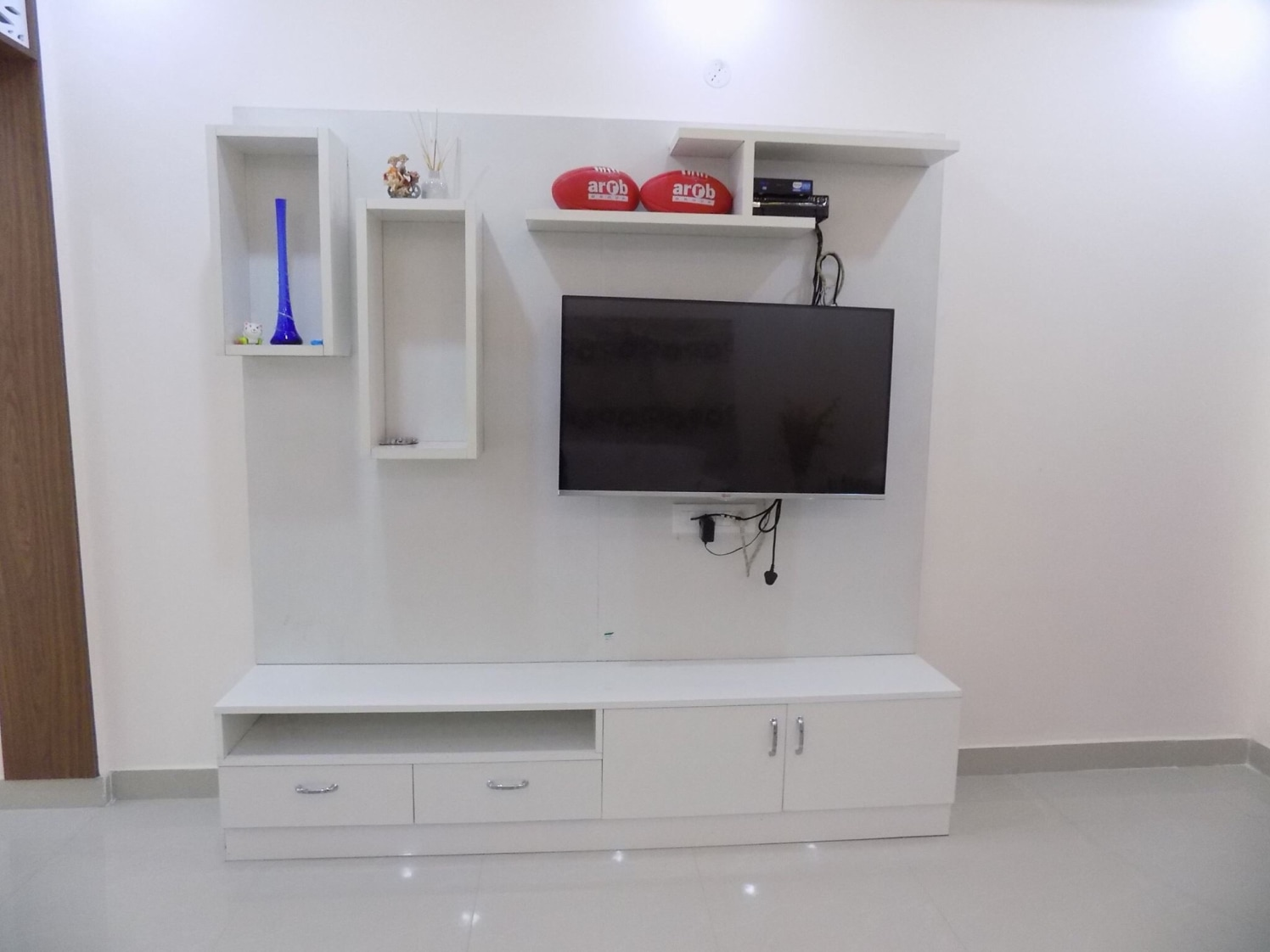 Modern Tv Cabinet With White Blocks by Saurabh Garg Living-room Modern | Interior Design Photos & Ideas
