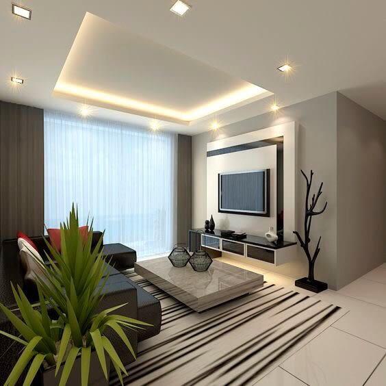 False Ceiling In Modern Living Room by Saurabh Garg Living-room Modern | Interior Design Photos & Ideas