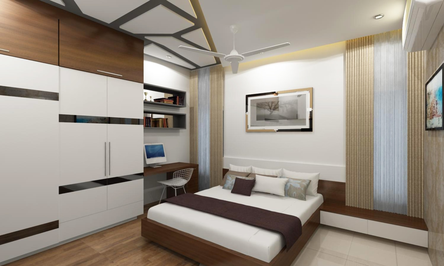 Bedroom with wardrobe and study space by Adroit Design - Architectural - interior Bedroom Contemporary | Interior Design Photos & Ideas