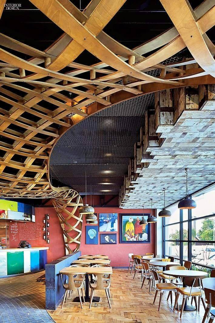 Restaurant With Artistic Wooden False Ceiling by Gestalt Interior Modern | Interior Design Photos & Ideas
