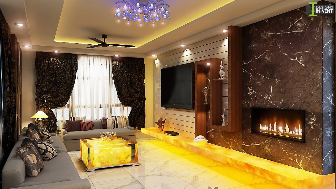 Grey Sectional Sofa And Golden Table by Sudipta Das Living-room Modern | Interior Design Photos & Ideas