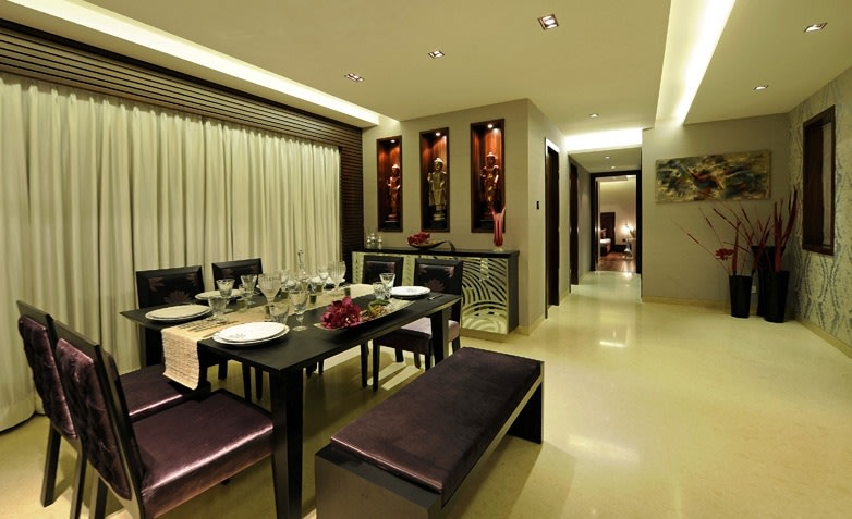 Wooden Sleek Dining Table And Marble Flooring In Dining Room by Jeetan Ranpura Dining-room Contemporary   Interior Design Photos & Ideas