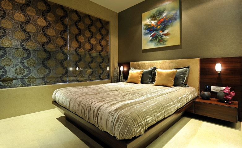 Spacious Bedroom With Designer Curtains by Jeetan Ranpura Bedroom Contemporary | Interior Design Photos & Ideas