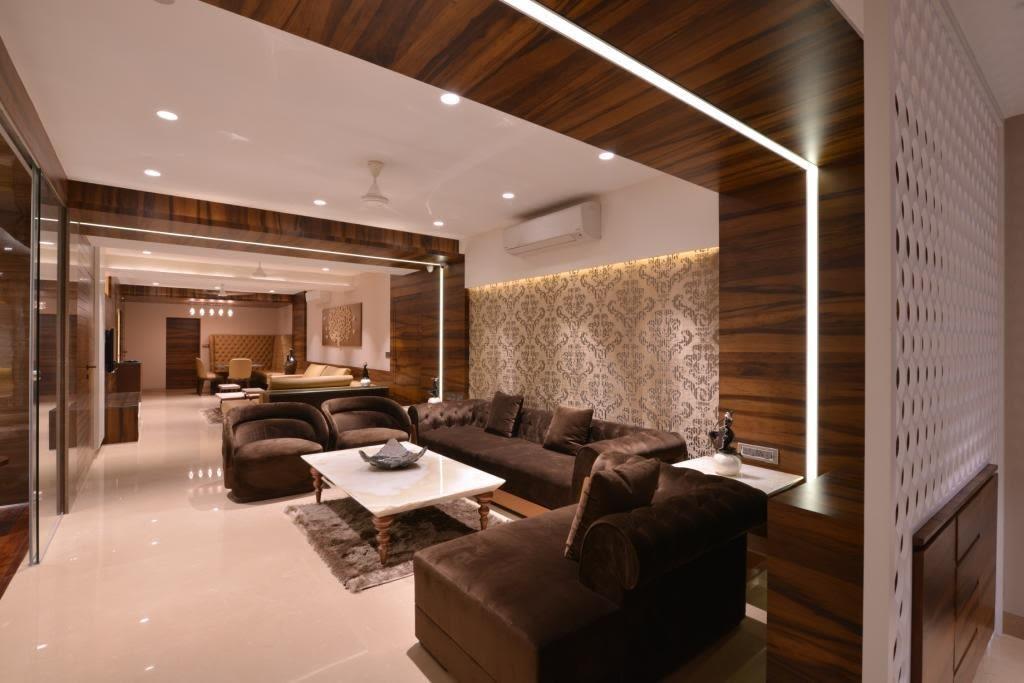 Spacious Living Room With Brown Bulky Sofas by Jeetan Ranpura Living-room Contemporary | Interior Design Photos & Ideas
