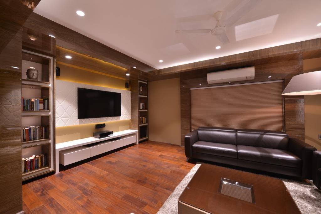 Spacious Living Room With Black Sofas by Jeetan Ranpura Living-room Contemporary | Interior Design Photos & Ideas