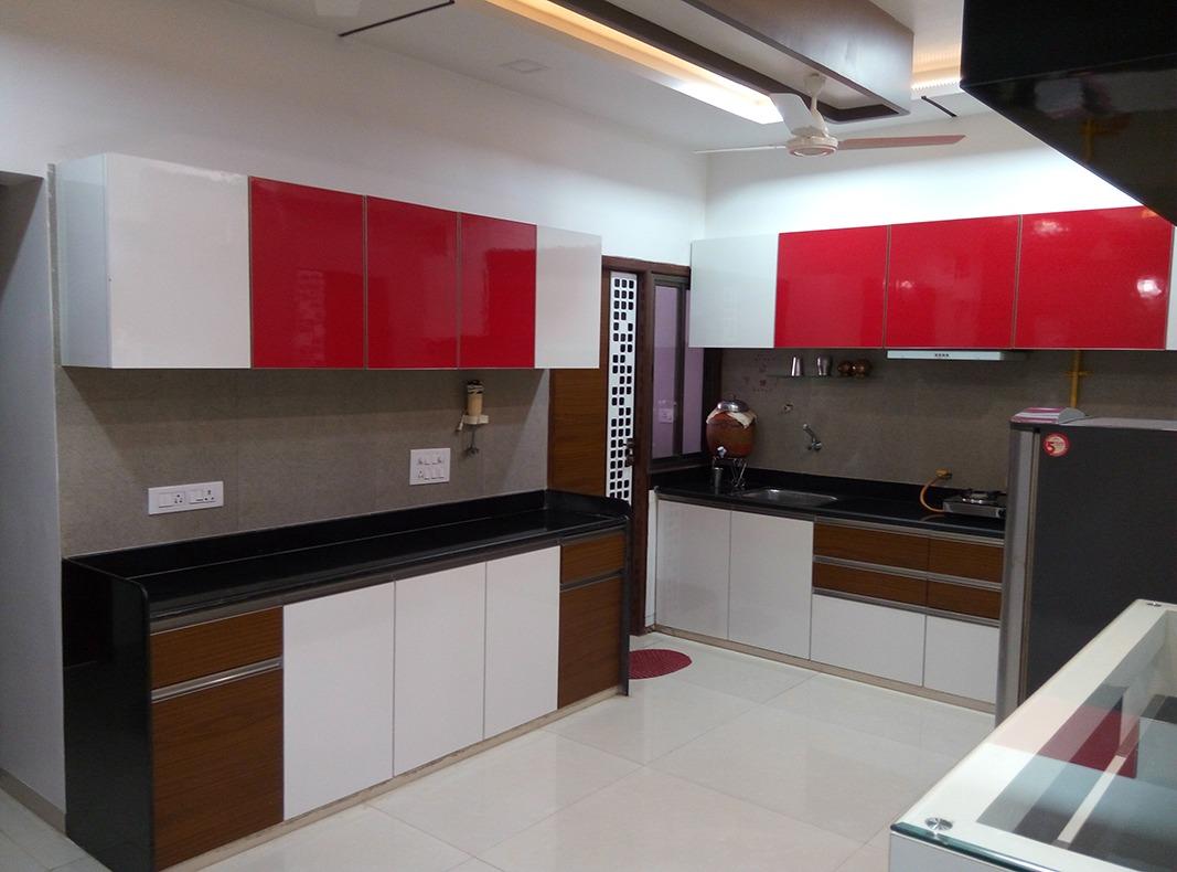 Red Modular Kitchen by Jigar Patel Modular-kitchen | Interior Design Photos & Ideas