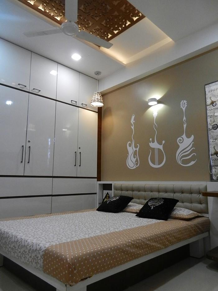 Bedroom With Wall Design by Jigar Patel Bedroom   Interior Design Photos & Ideas
