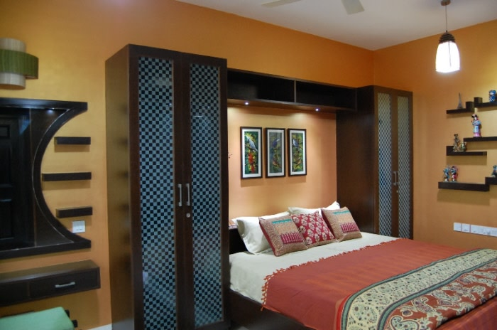 Wooden Wardrobe And Hanging Lights In Bedroom by Nishajyoti Sharma Bedroom | Interior Design Photos & Ideas