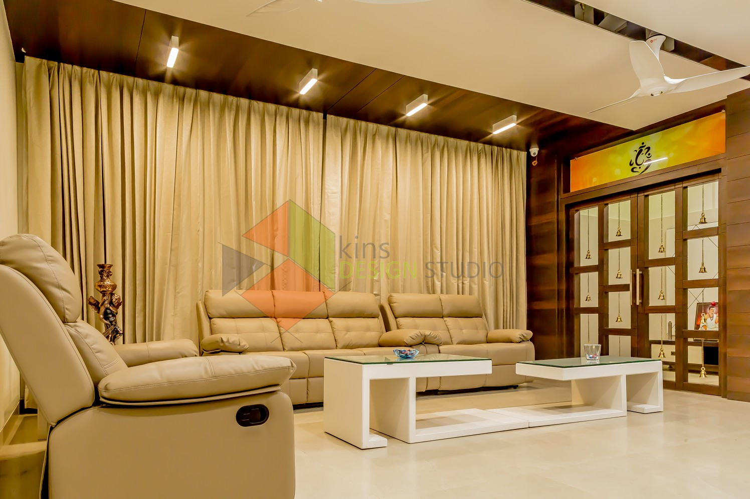 Living room with cream sofa  false ceiling by Kinnera Naresh Living-room Modern | Interior Design Photos & Ideas