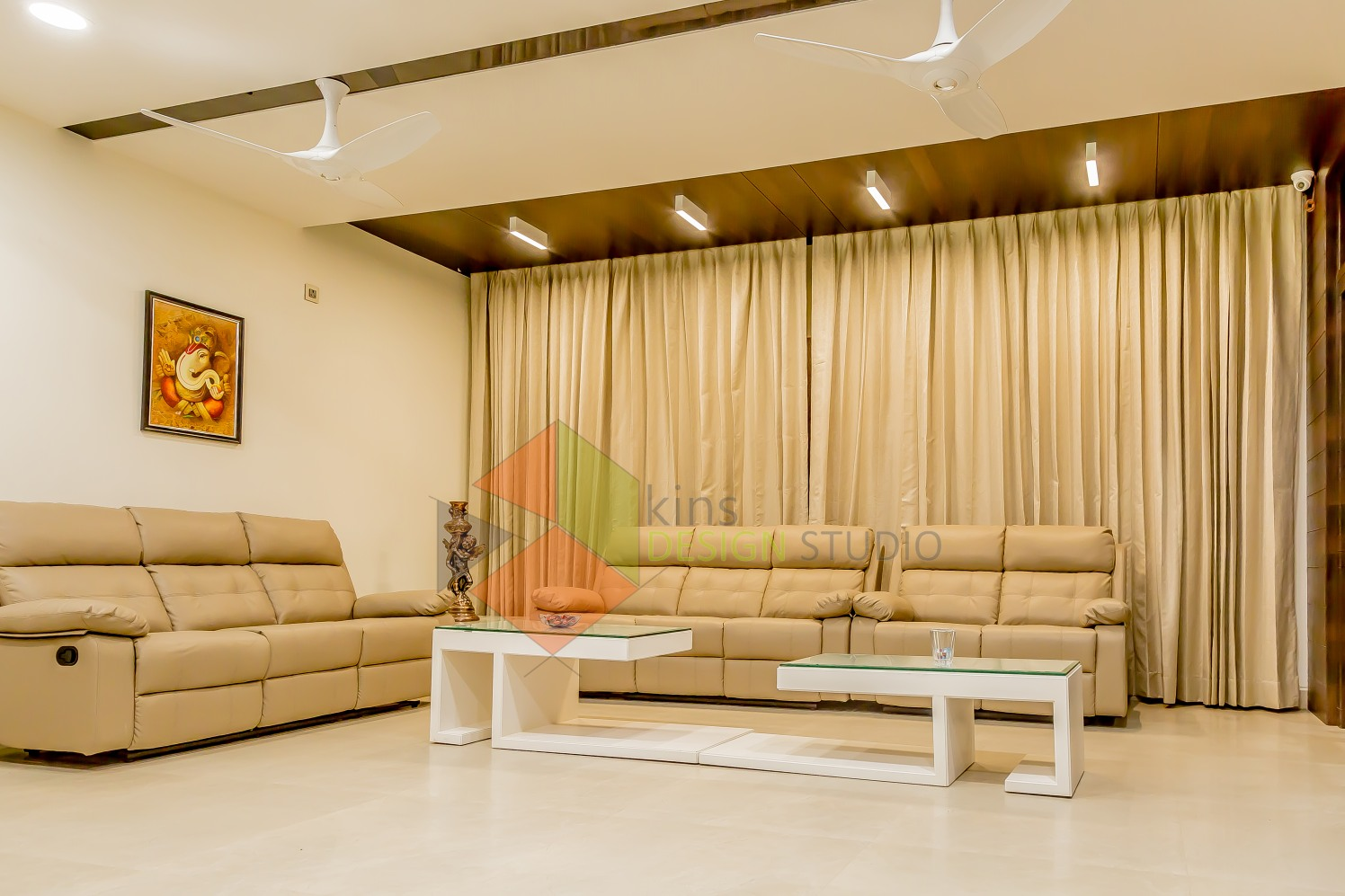 Living Room With Cream Leather Sofas by Kinnera Naresh Living-room Contemporary | Interior Design Photos & Ideas