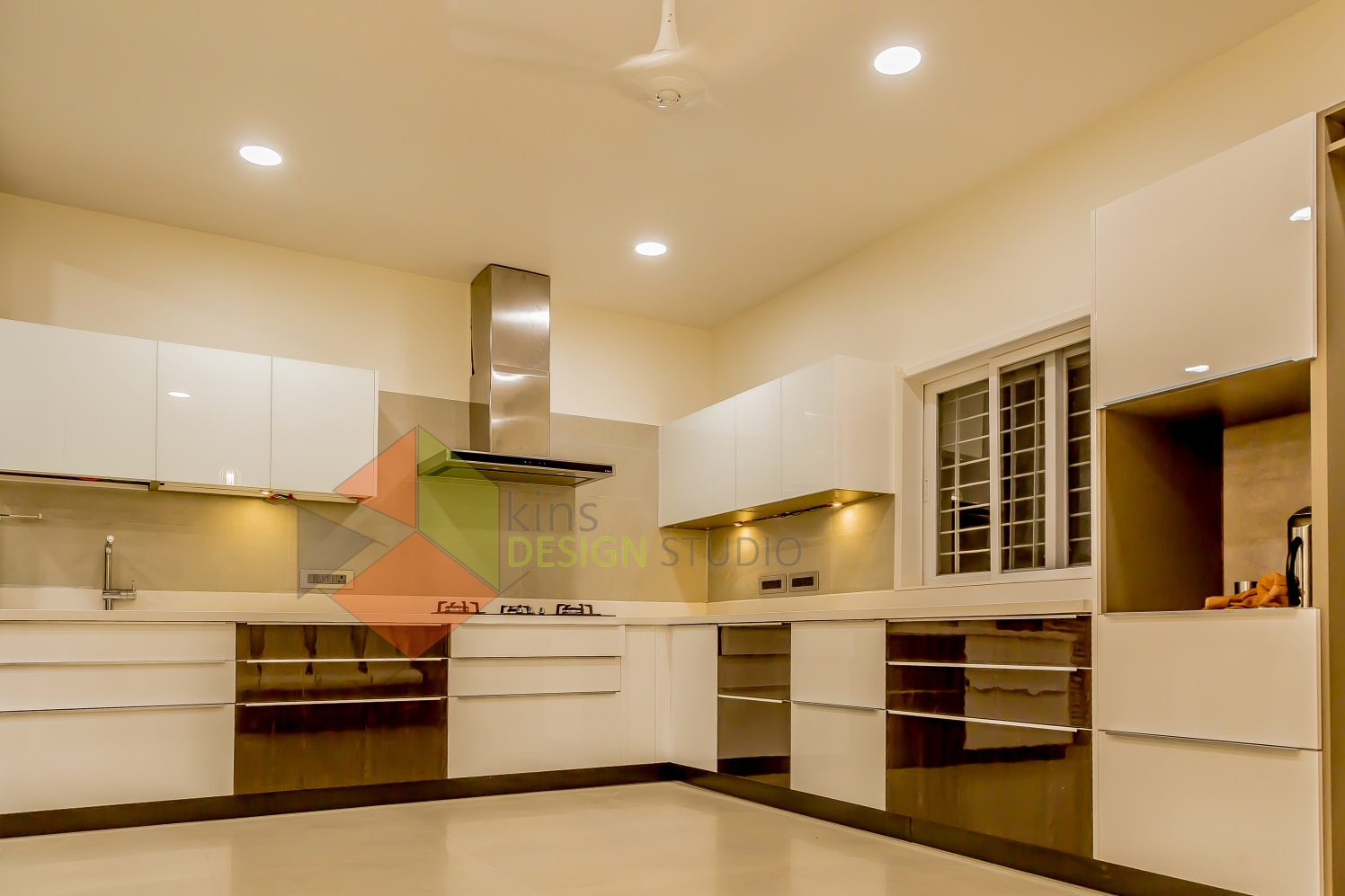 L shape Kitchen  with  white cabinets by Kinnera Naresh Modular-kitchen Modern   Interior Design Photos & Ideas