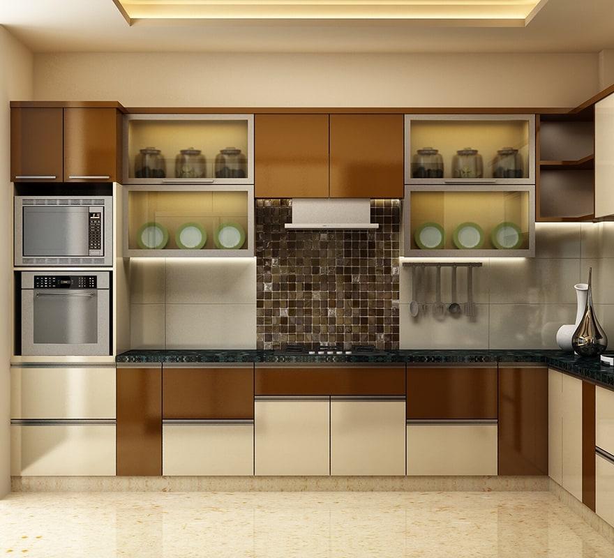 Brown And White Themed Modular Kitchen By Mridul Jain