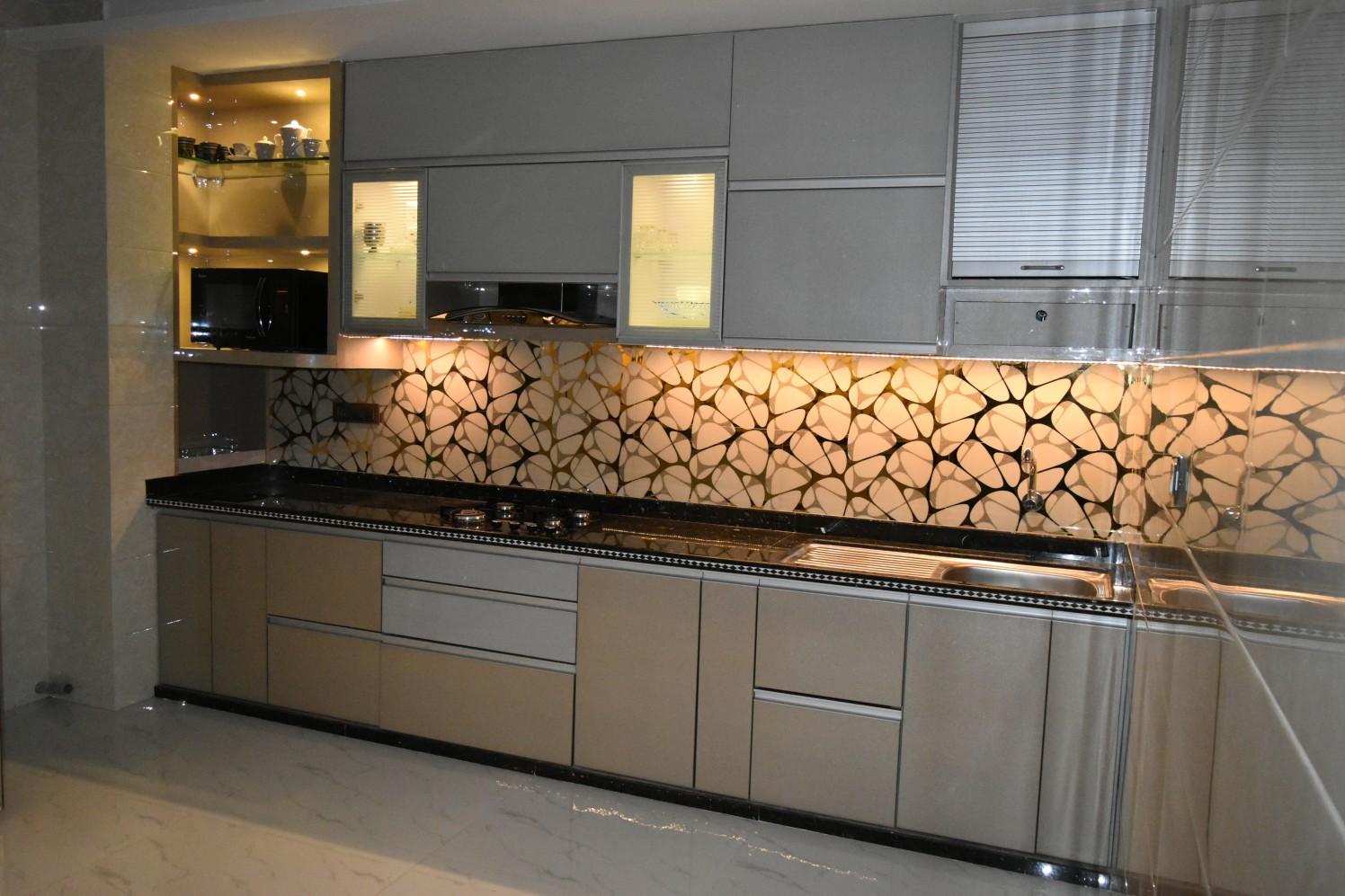 Metallic Finish Modular Kitchen by Aashirwad Koli Modern | Interior Design Photos & Ideas