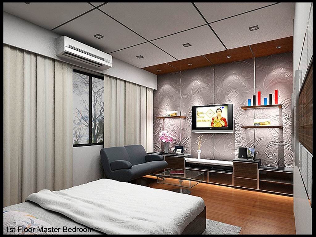 Bedroom With Wooden Flooring And Grey Sofa by Dharmendra Sharma Bedroom Contemporary   Interior Design Photos & Ideas