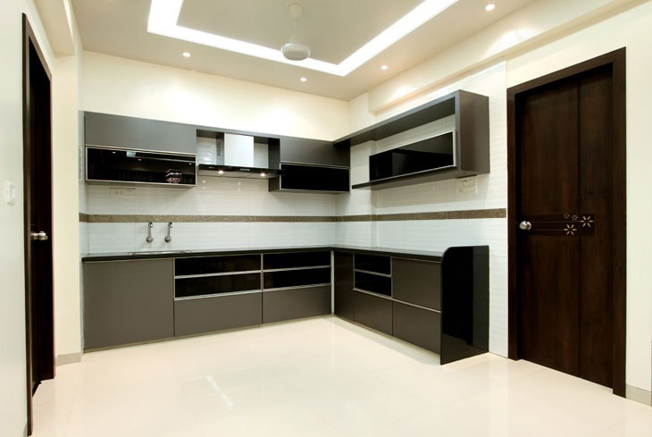 Grey And Black Themed Modular Kitchen by Deepti Srivastava Modular-kitchen Contemporary | Interior Design Photos & Ideas