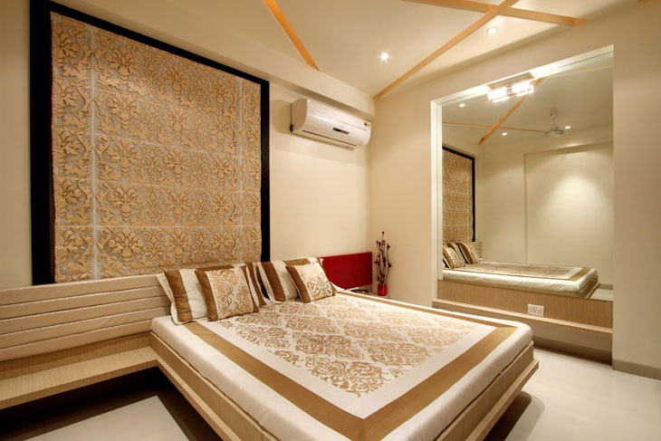 Wooden Built In Bed And Intricate Golden Work by Deepti Srivastava Bedroom Modern | Interior Design Photos & Ideas