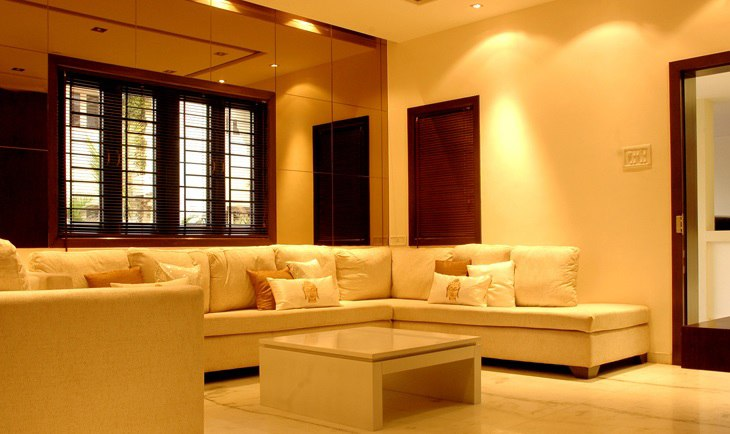 White Sectional Sofa And Centre Table by Deepti Srivastava Living-room Contemporary | Interior Design Photos & Ideas