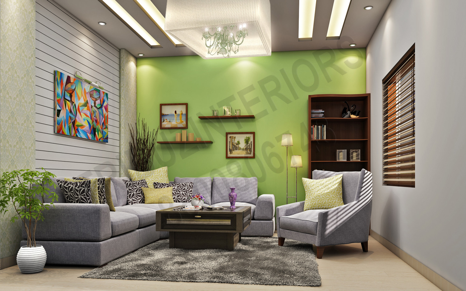 Living Room With Grey Fabric Sofa And Wooden Selves by Tribuz Interiors Pvt. Ltd. Living-room Modern | Interior Design Photos & Ideas