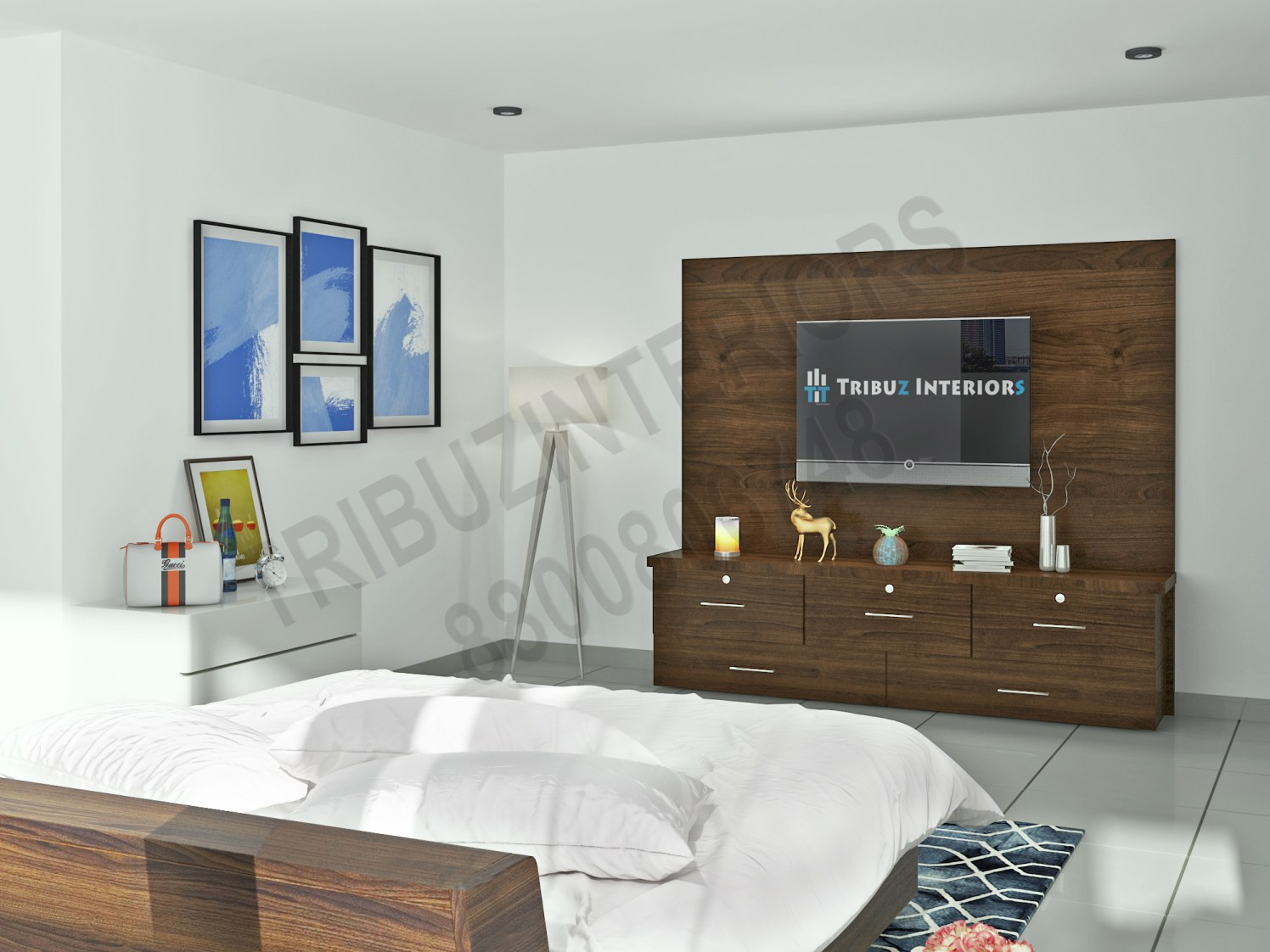 Bedroom With Wooden TV unit And Wall Decor by Tribuz Interiors Pvt. Ltd. Bedroom Modern | Interior Design Photos & Ideas