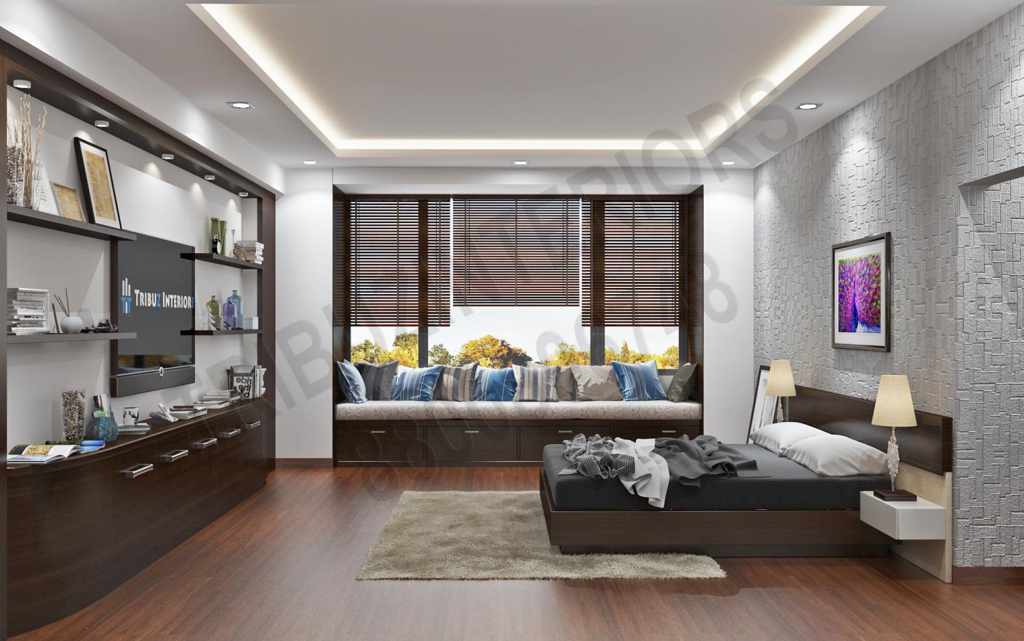 Bedroom With Designer Wall Art And Wooden Floor by Tribuz Interiors Pvt. Ltd. Bedroom Modern   Interior Design Photos & Ideas