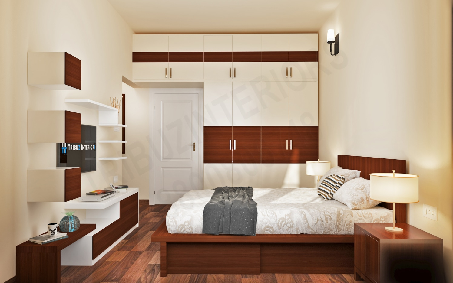 Coffee and Cream Combo Bedroom With Wardrobe And TV  Unit by Tribuz Interiors Pvt. Ltd. Bedroom Modern | Interior Design Photos & Ideas