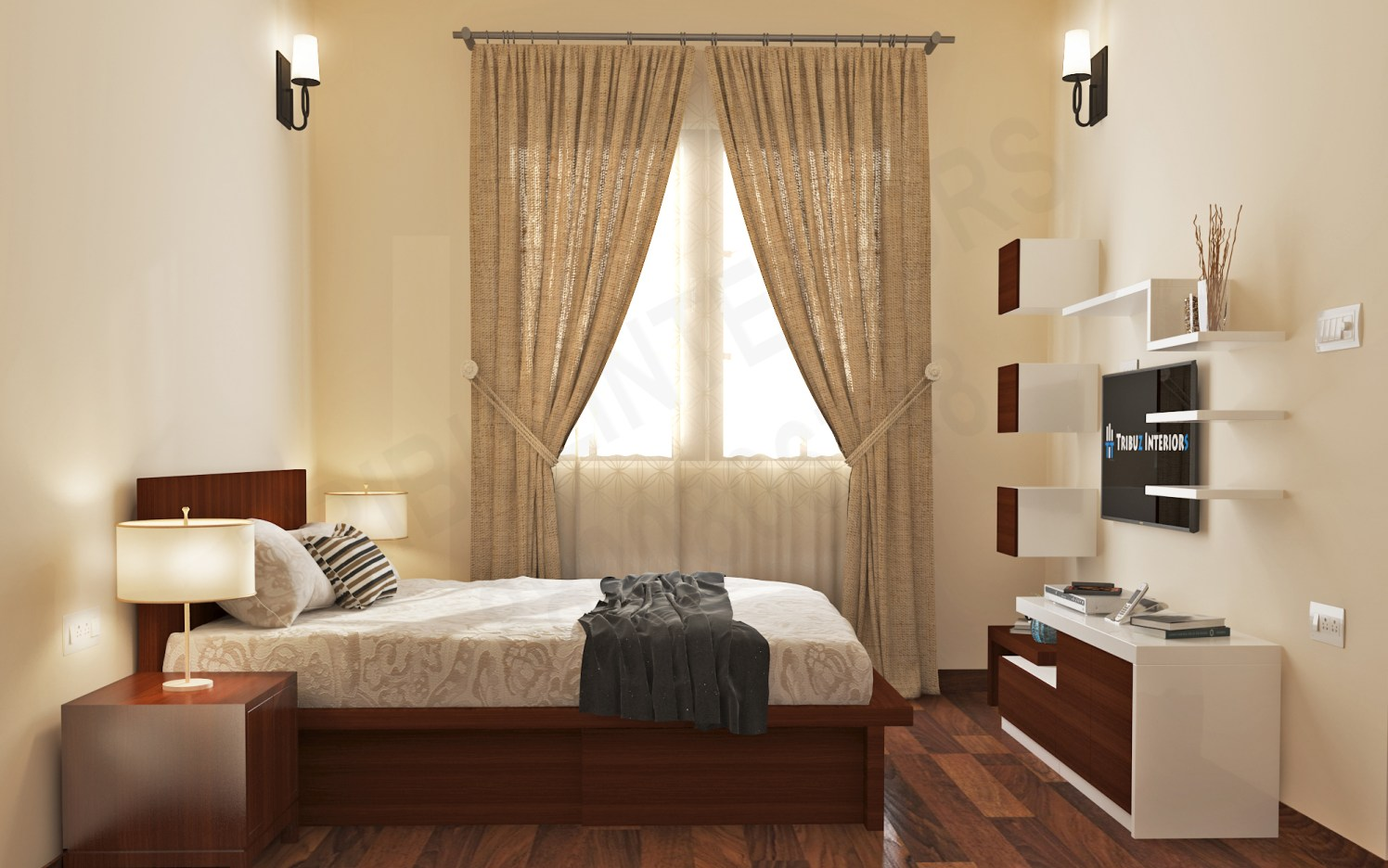 Coffee And Cream Combo Bedroom With Wooden Bed And TV Unit by Tribuz Interiors Pvt. Ltd. Bedroom Modern | Interior Design Photos & Ideas