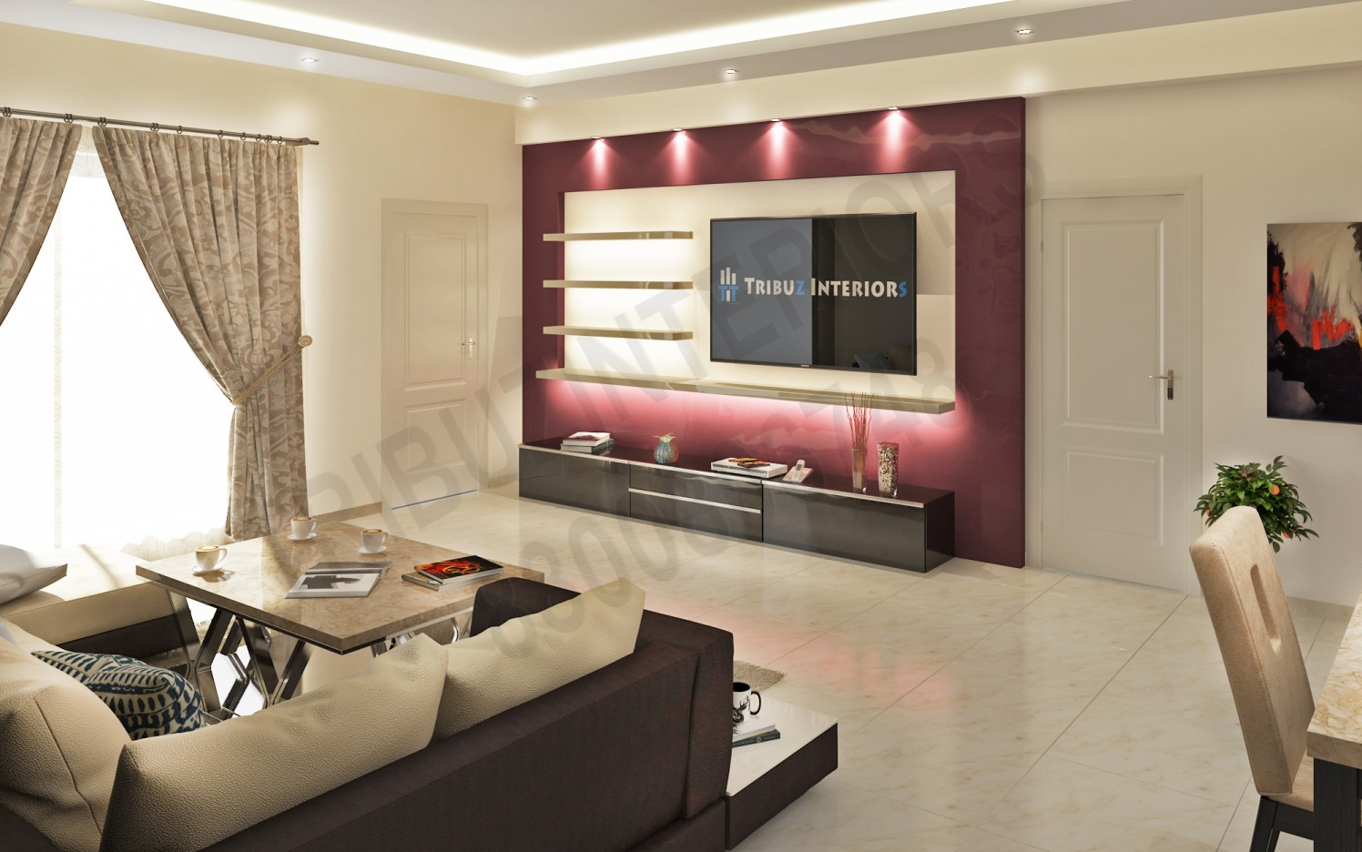 Stylish Living Room With Designer TV Unit by Tribuz Interiors Pvt. Ltd. Living-room Modern | Interior Design Photos & Ideas