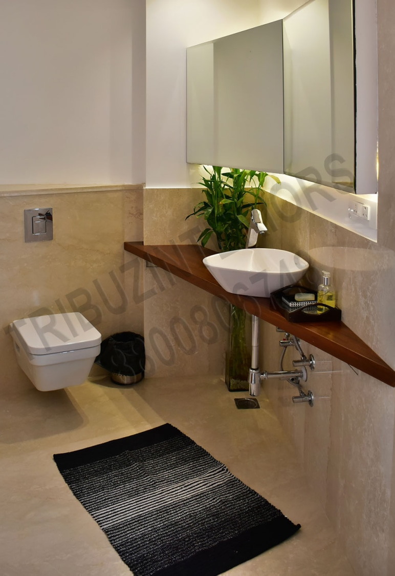Simple Bathroom With Designer Wash Basin by Tribuz Interiors Pvt. Ltd. Bathroom Contemporary | Interior Design Photos & Ideas