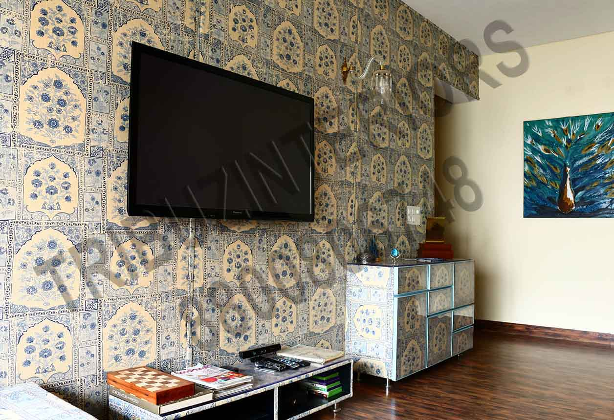 Living Room With Designer Wall Art And TV Cabinets by Tribuz Interiors Pvt. Ltd. Living-room Contemporary | Interior Design Photos & Ideas