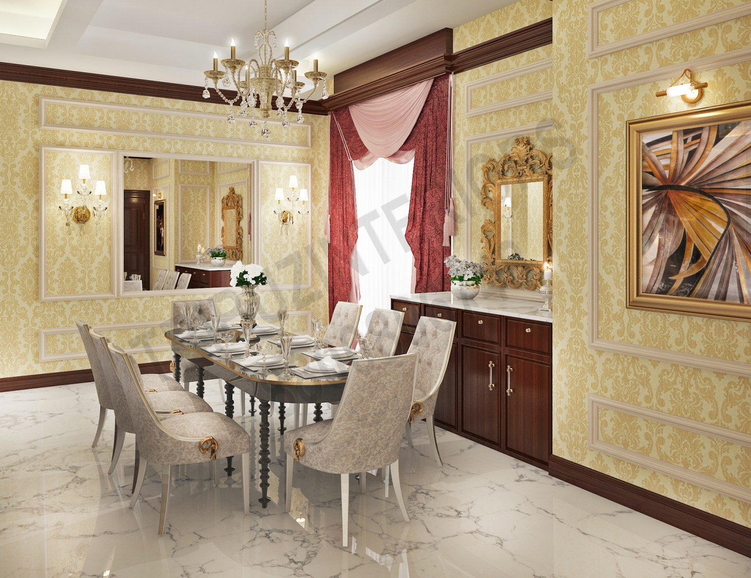 Lavish Dining Room With Beautiful Dining Set And Wall Art by Tribuz Interiors Pvt. Ltd. Dining-room Vintage | Interior Design Photos & Ideas
