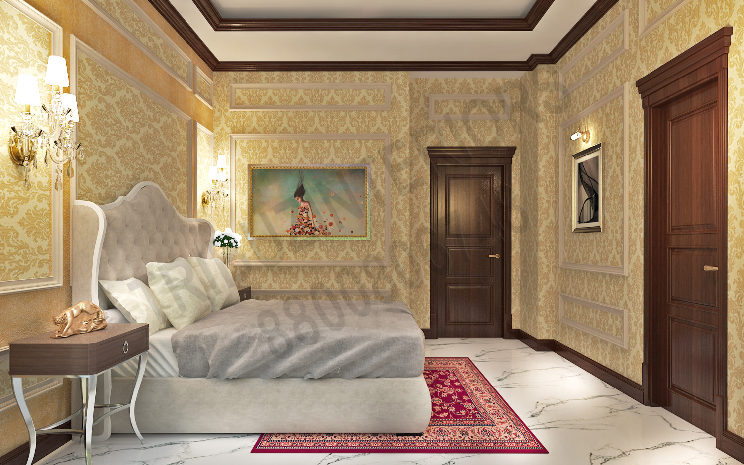 Comfortable Luxury Bedroom With Wall Art And Marble Floor by Tribuz Interiors Pvt. Ltd. Bedroom Vintage | Interior Design Photos & Ideas