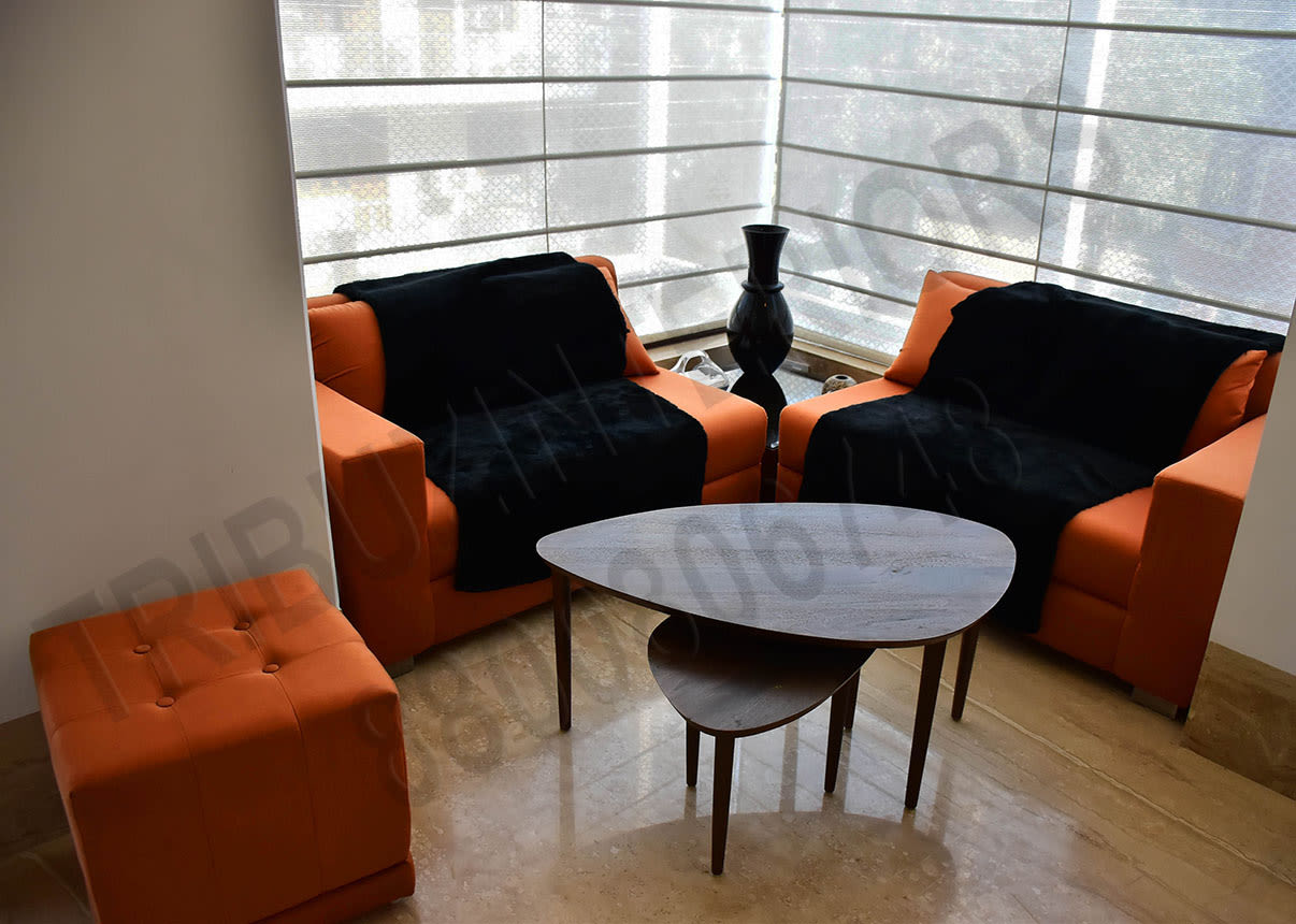 Small And Cozy Living Room With Orange Sofa Set And Designer Centre Table by Tribuz Interiors Pvt. Ltd. Living-room Contemporary | Interior Design Photos & Ideas