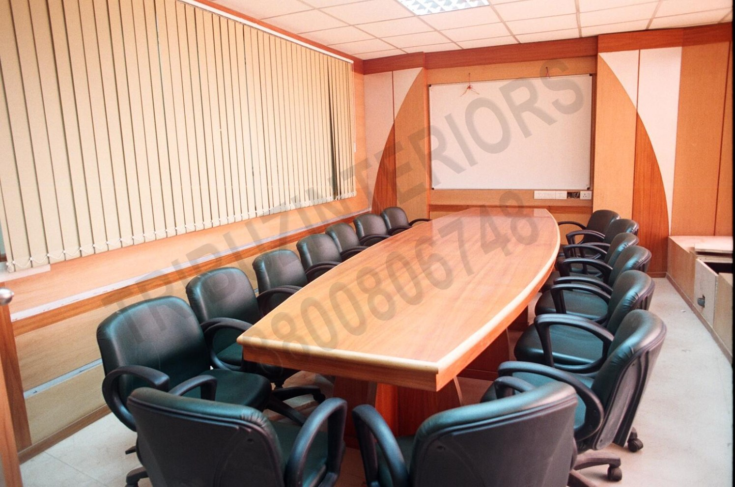 Meeting Room With Wooden Table And Black Chair by Tribuz Interiors Pvt. Ltd. Modern | Interior Design Photos & Ideas