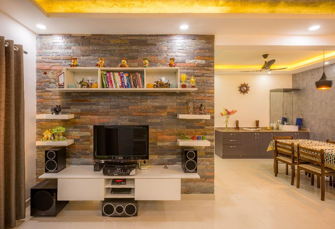 Contemporary living room with tv unit by Shubhashis Shomil Living-room Contemporary | Interior Design Photos & Ideas