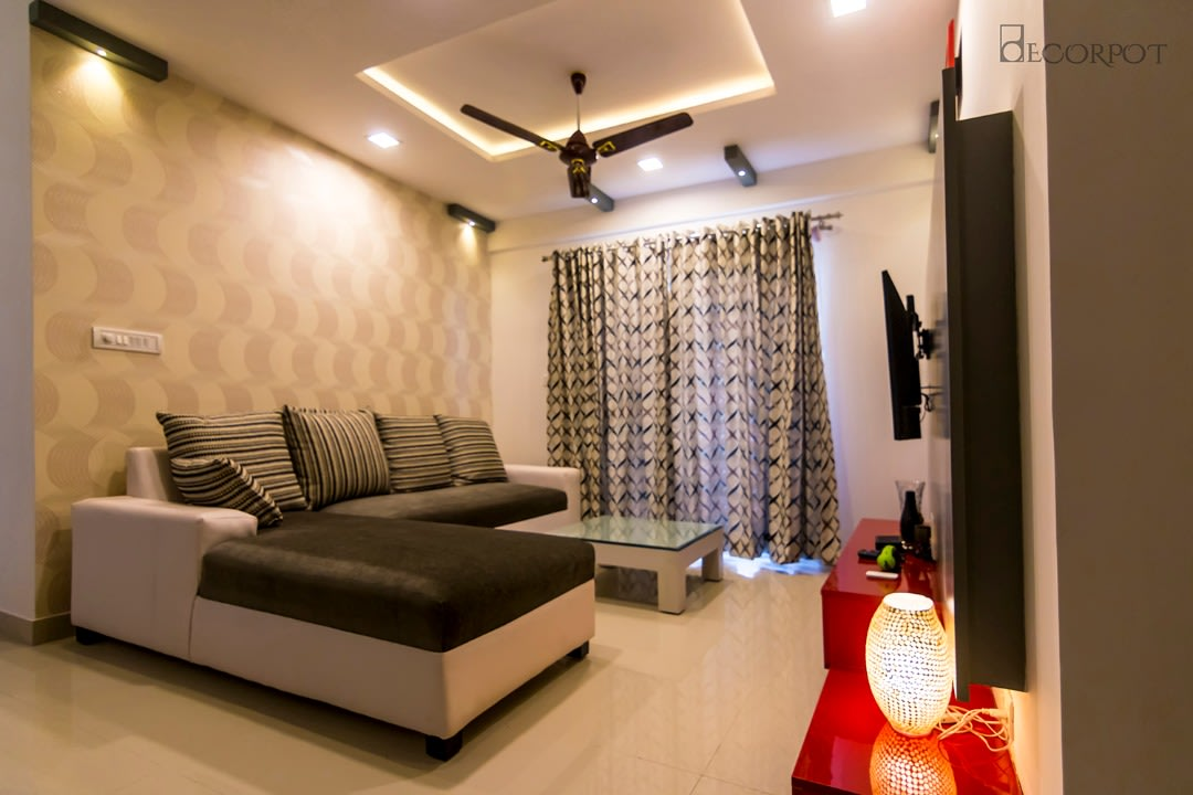 Contemporary living room with marble flooring by Shubhashis Shomil Living-room Contemporary | Interior Design Photos & Ideas