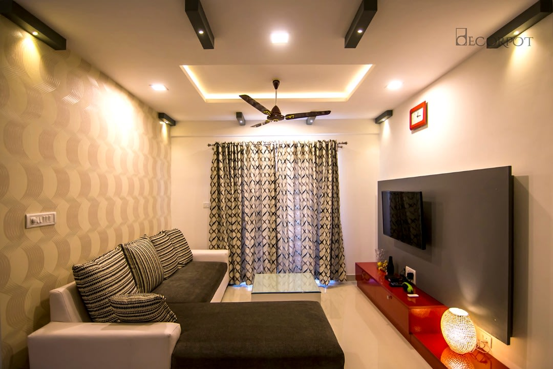 Contemporary living room with marble flooring by Shubhashis Shomil Contemporary   Interior Design Photos & Ideas