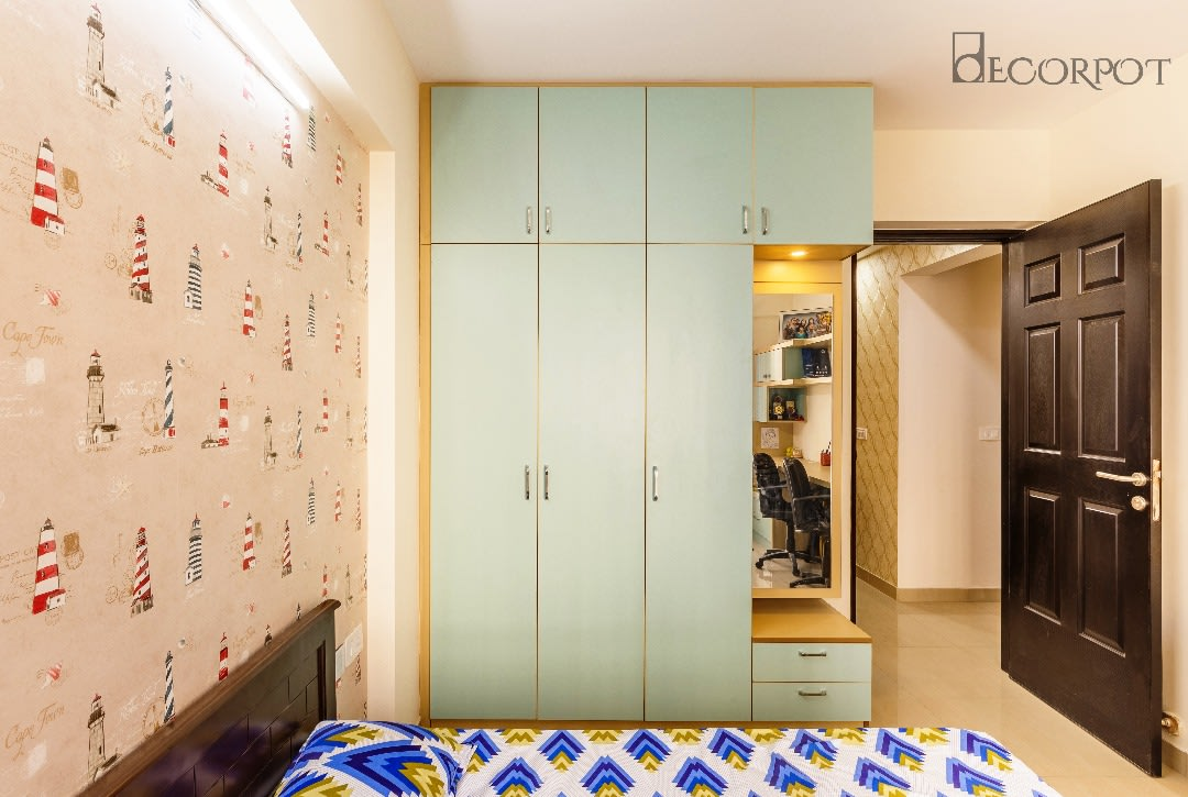 Contemporary bedroom with wardrobe by Shubhashis Shomil Bedroom Contemporary | Interior Design Photos & Ideas