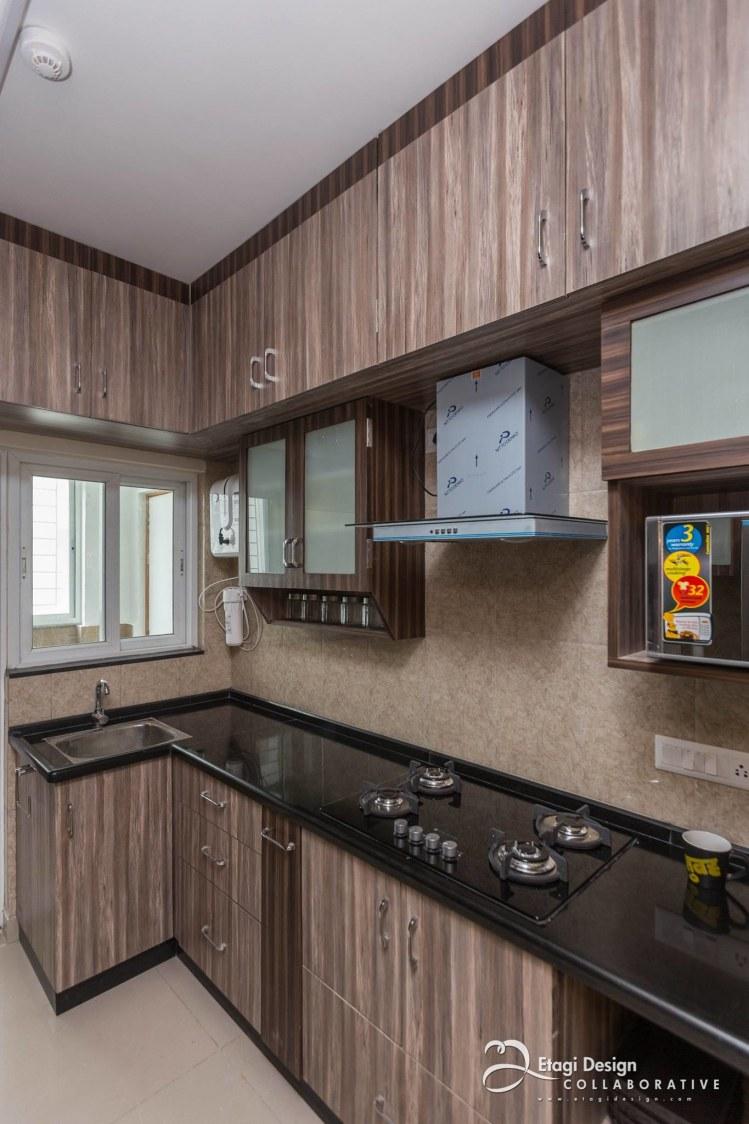 Modern Kitchen With Wooden Cabinets by Prashanth Nandiprasad Modular-kitchen Modern | Interior Design Photos & Ideas