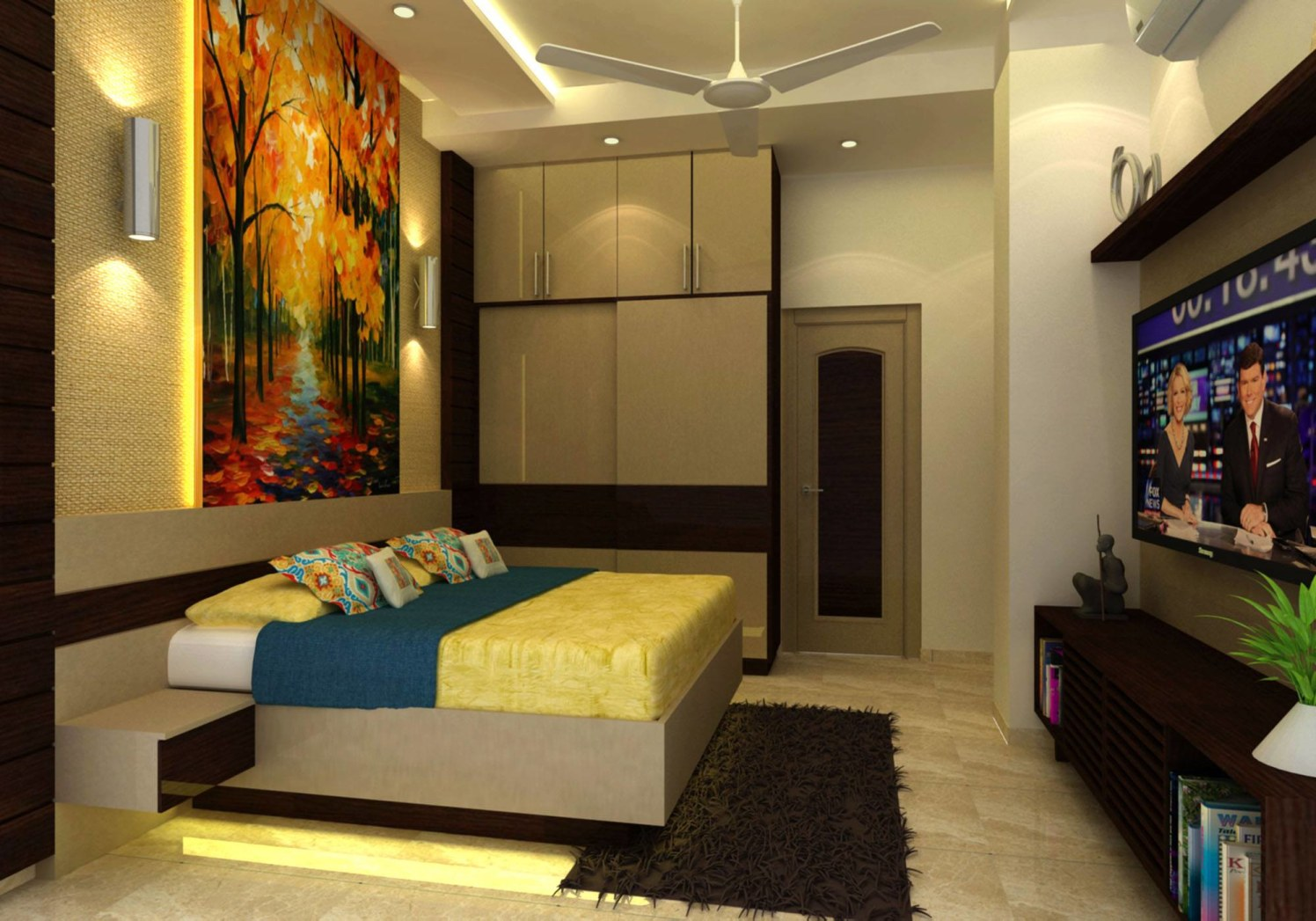 Beige Wooden Bed And Cupboard With Wall Lighting by Anjali Raghav Bedroom Contemporary | Interior Design Photos & Ideas