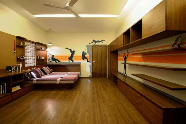 Wooden design bedroom with wall decor and modern display unit by Milind Kapadia Bedroom Modern | Interior Design Photos & Ideas