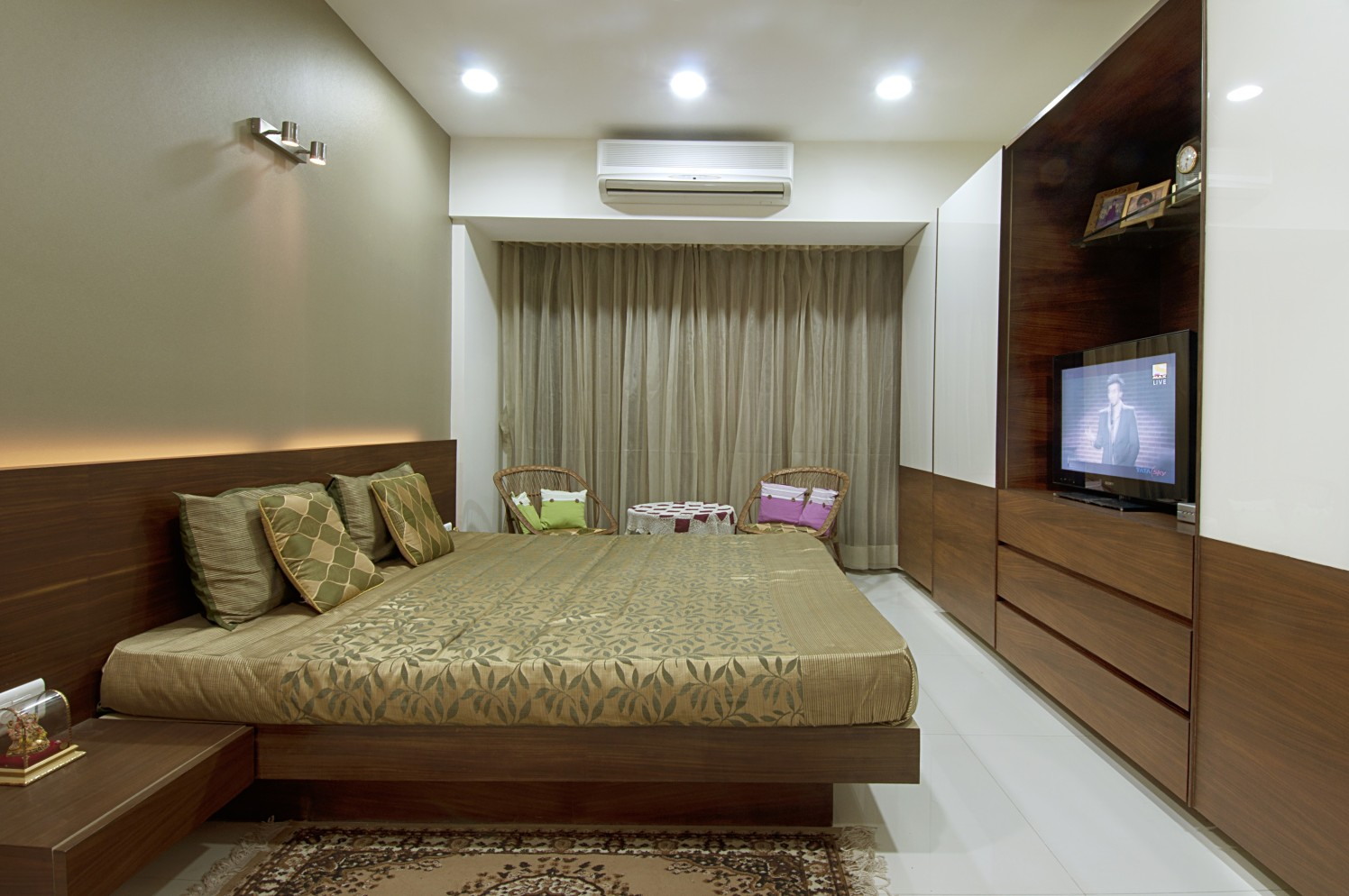 Bedroom with wardrobe tv unit and marble flooring by Milind Kapadia Bedroom Contemporary | Interior Design Photos & Ideas