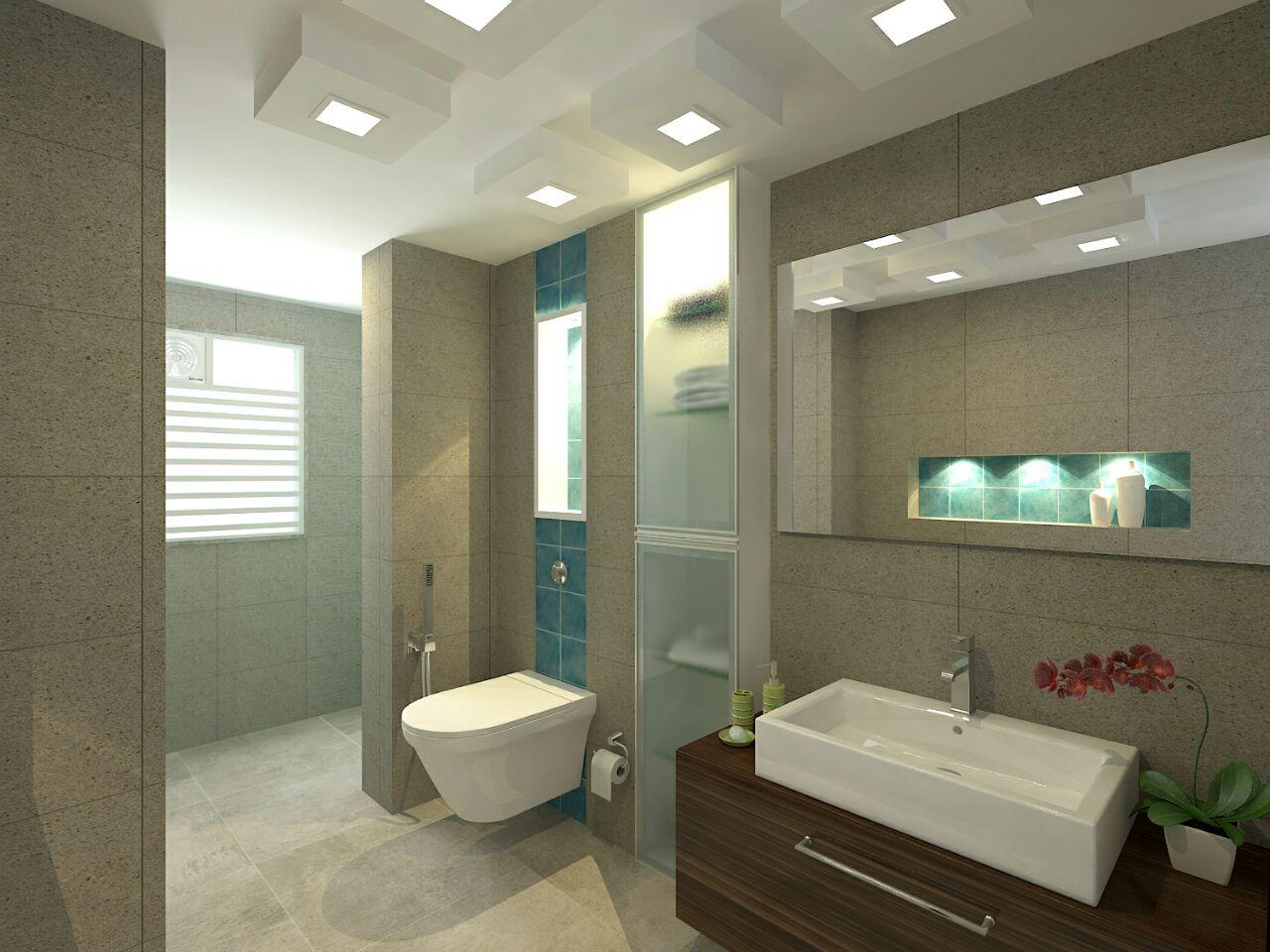 Grey Bathroom Interiors With White Blocked False Ceiling by VERSATILE INTERIORS  Bathroom Modern | Interior Design Photos & Ideas