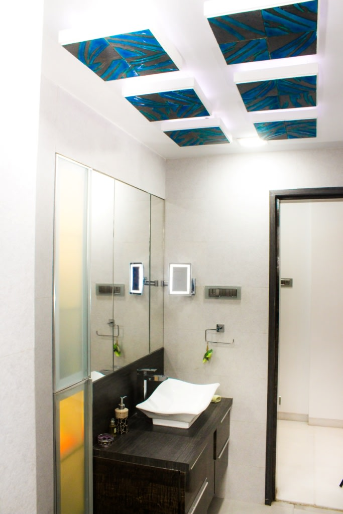 White And Blue False Ceiling In Modern Bathroom by VERSATILE INTERIORS  Bathroom Modern | Interior Design Photos & Ideas