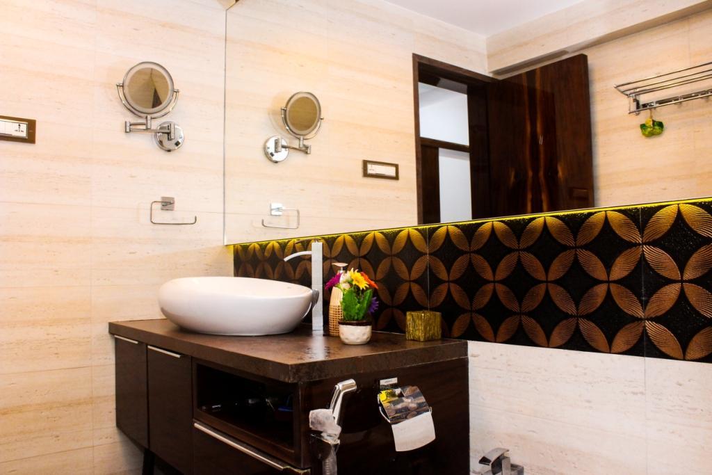 Dark Brown And Beige Bathroom Interior by VERSATILE INTERIORS  Bathroom Contemporary | Interior Design Photos & Ideas