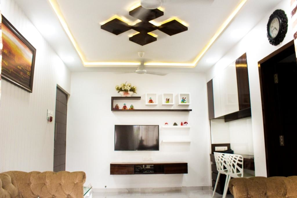 Black And White False Ceiling In Modern Living Room by VERSATILE INTERIORS  Living-room Contemporary | Interior Design Photos & Ideas