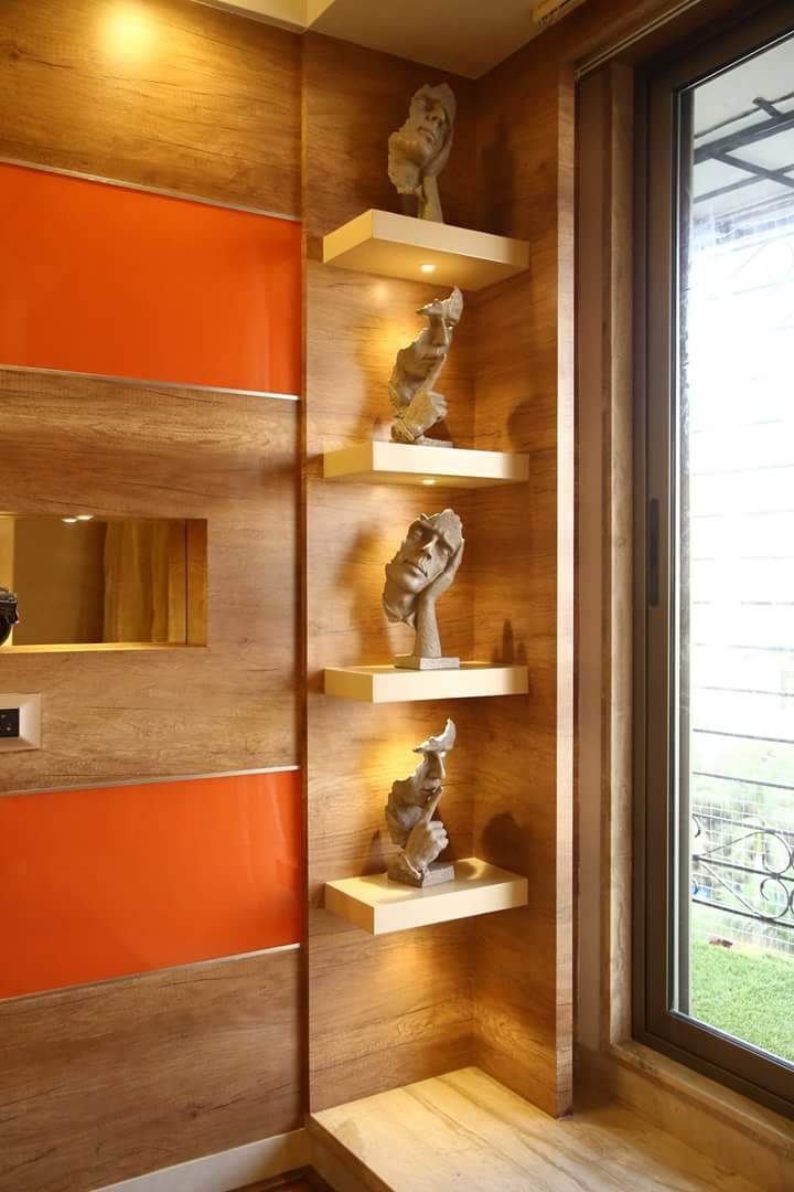 Oak Brown Display unit with wooden wall decor by Atit Barbhaya Living-room Modern | Interior Design Photos & Ideas