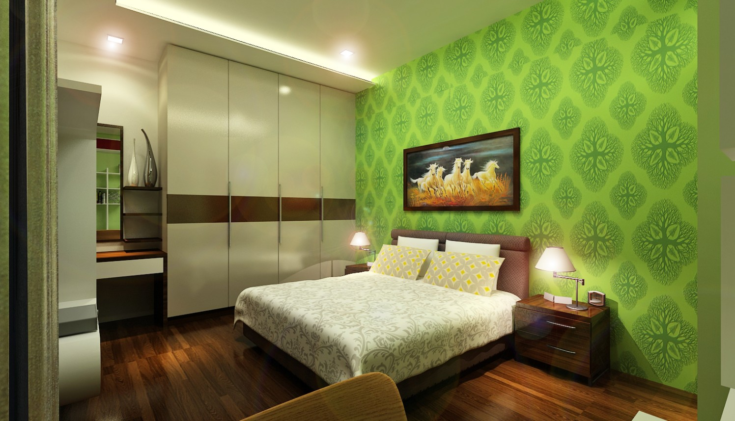 Contemporary bedroom with wooden flooring by Jamshed Ahmed Bedroom Contemporary | Interior Design Photos & Ideas