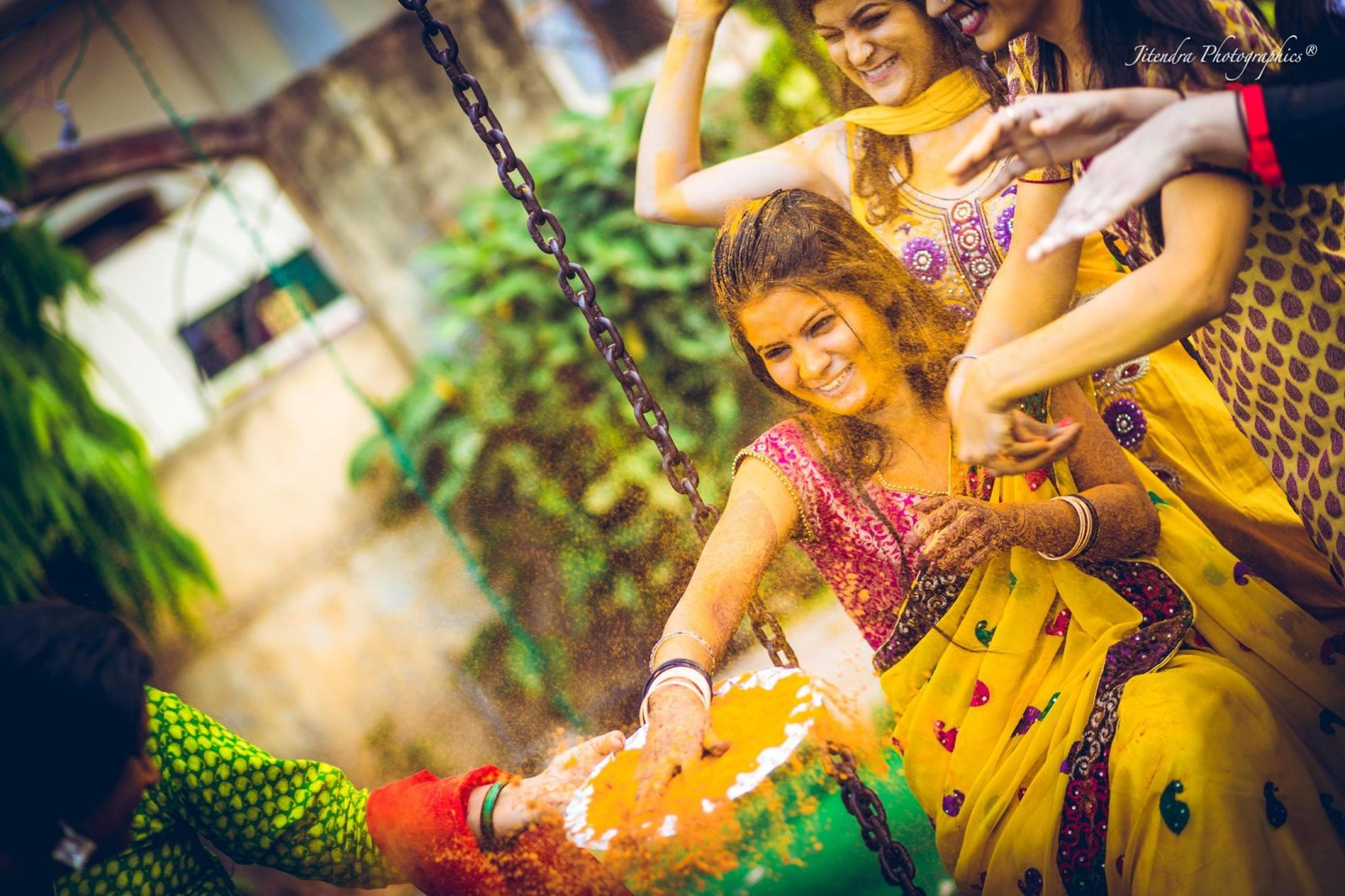 Sprinkle haldi by The Dark Room Photography Wedding-photography | Weddings Photos & Ideas