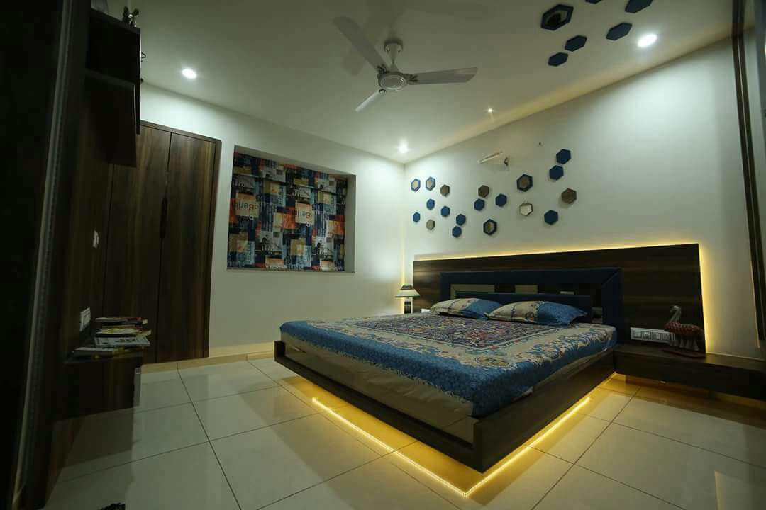 Bedroom with false ceiling marble flooring and wall decor by Chandni Goel Bedroom Contemporary | Interior Design Photos & Ideas