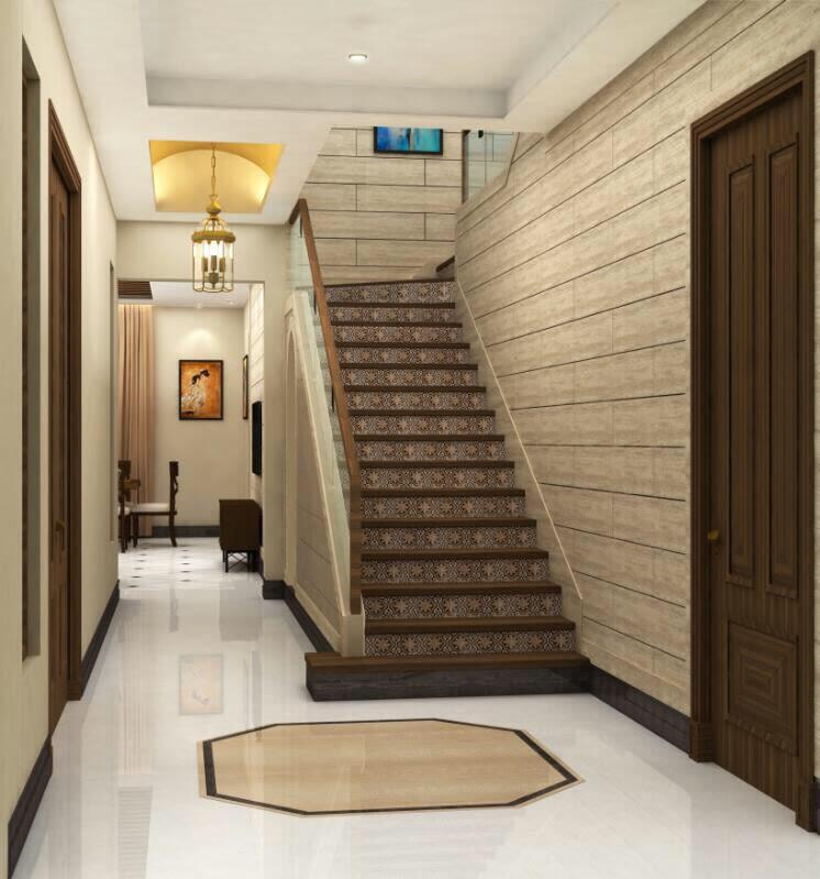 Wooden Work On Staircase by Deepanshu Prasad Indoor-spaces Contemporary | Interior Design Photos & Ideas